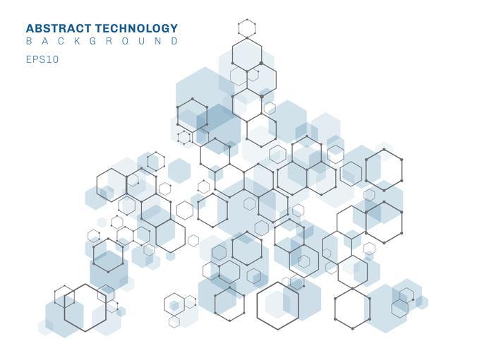 Estrutura molecular sextavada azul abstrata do sistema dos neurônios. Fundo de tecnologia digital. Modelo geométrico futuro. vetor