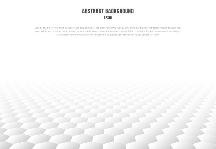 Abstract white hexagons pattern perspective background and texture with copy space. Luxury style. vector