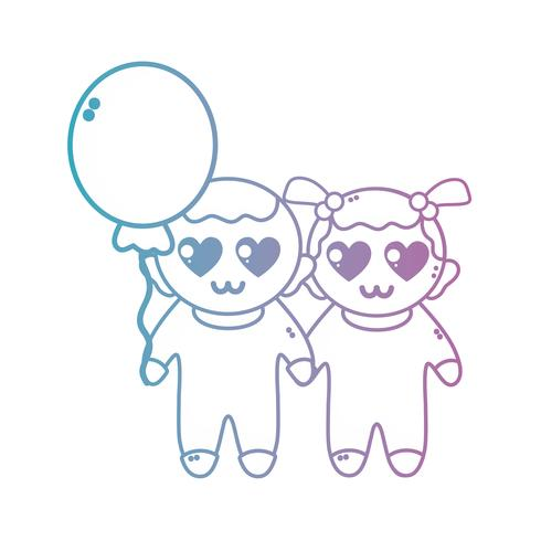 line cute babies together with hairstyle and balloon