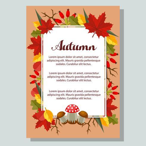 Cartel de otoño naturaleza y hojas planas vector