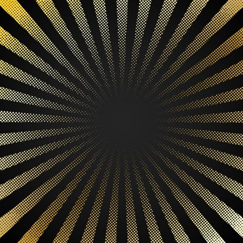 Abstract retro shiny starburst black background with gold dots pattern texture halftone style. Vintage rays backdrop, boom, comic. Cartoon pop art template. vector