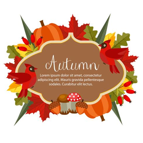 autumn theme with flat style object vector
