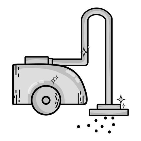 attrezzatura elettrica della macchina dell'aspirapolvere in scala di grigi vettore