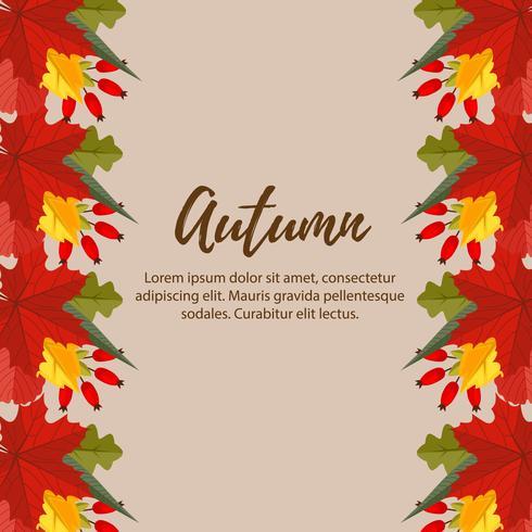 lindo otoño naturaleza deja frontera ilustración vector