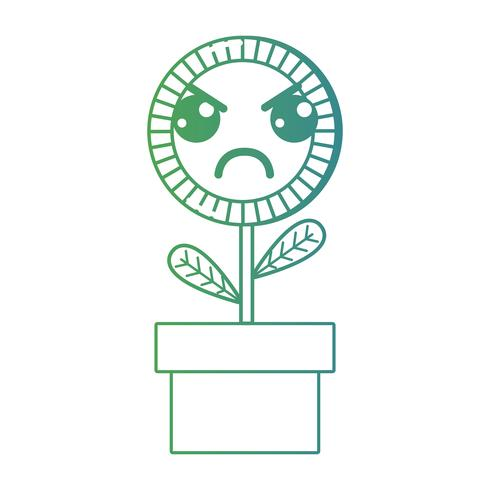 line kawaii cute angry sunflower plant