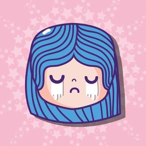 cara de niña cryng emoji mensaje de cara vector