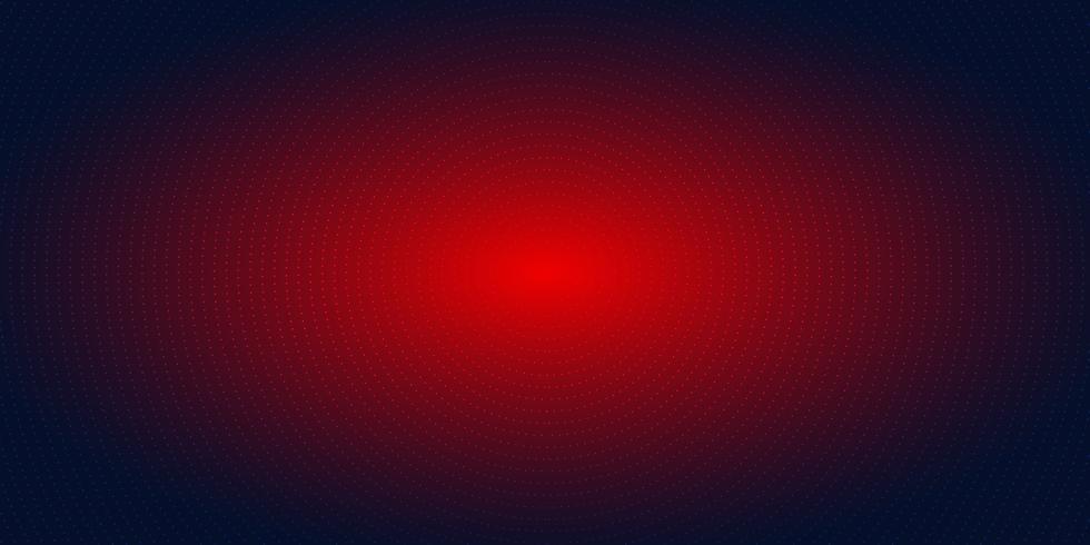 Reticulação radial vermelha abstrata do teste padrão de pontos na obscuridade - fundo azul do inclinação. Iluminação de néon futurista do conceito digital da tecnologia.