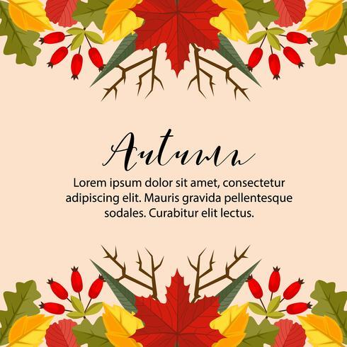 autumn card border horizontal nature leaves flat style vector