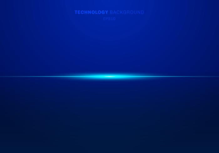 Linhas claras azuis do laser da luz abstrata horizontais no fundo escuro. Estilo de tecnologia.