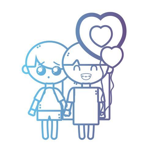 Línea niños junto con globos de corazón vector