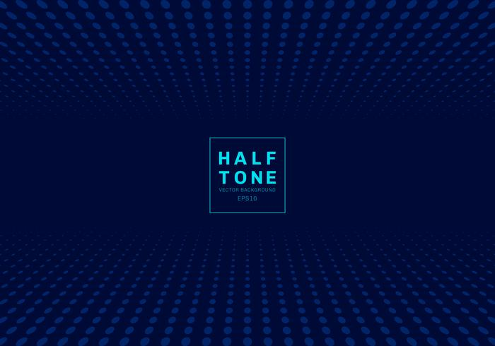 Abstract of light dot pattern halftone design concept dark blue background with space fot text.