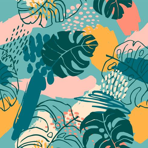 Abstrait créatif modèle sans couture avec des plantes tropicales et artistique.