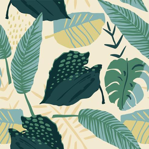 Modelo inconsútil creativo abstracto con las plantas tropicales y el fondo artístico. vector