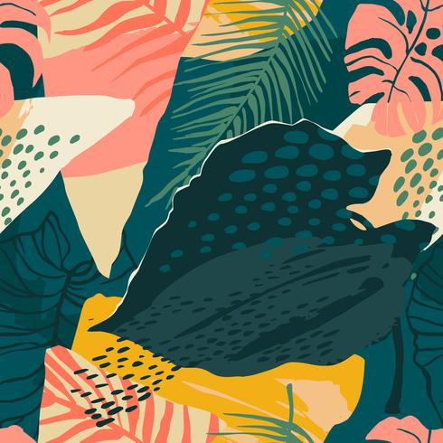 Abstraktes kreatives nahtloses Muster mit tropischen Anlagen und künstlerischem Hintergrund.