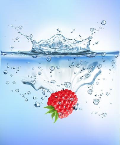 La fruta fresca que salpicaba en el concepto sano de la frescura de la dieta de la comida del chapoteo claro azul del agua aisló el fondo blanco. Ilustración realista del vector. vector