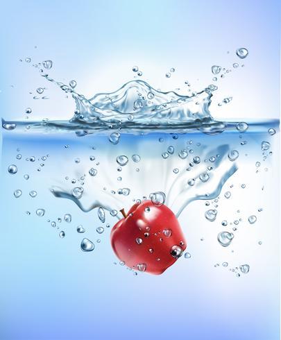 a fruta fresca que espirra no conceito claro do frescor da dieta do alimento saudável do respingo da água clara azul isolou o fundo branco. Ilustração vetorial realista.