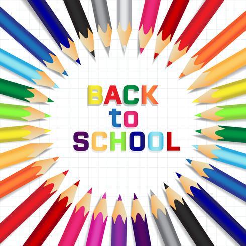 De volta à escola, fundo do conceito de educação com lápis de cor bonito