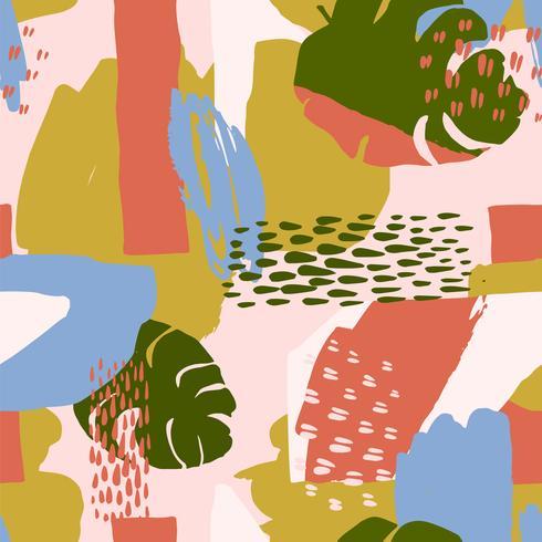 Modello senza cuciture creativo astratto con piante tropicali e sfondo artistico.