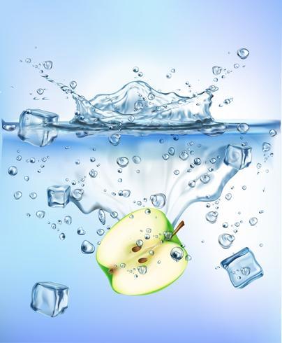 las verduras frescas que salpican el hielo en el fondo blanco aislado concepto sano sano azul de la frescura de la dieta de la comida del chapoteo del agua. Ilustración realista del vector.