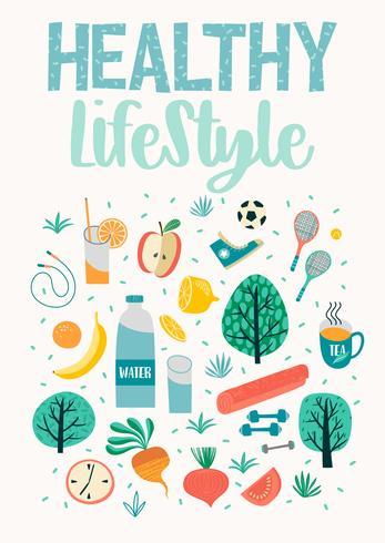 Hälsosam livsstil vektor illustration. Designelement för grafisk modul.