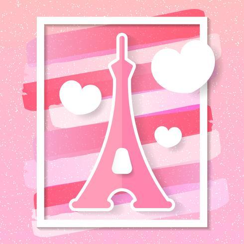 Paris City Vector Skyline en estilo de papel