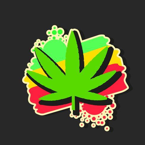 Medical Cannabis Logo With Marijuana Leaf Watercolor Style Vector