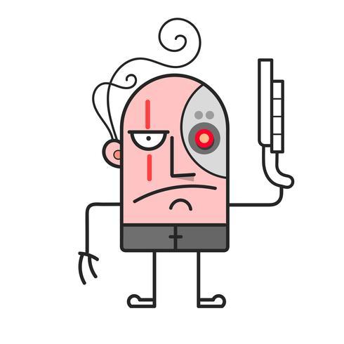 Cyborg de bande dessinée. Bataille cyborg. Illustration de vecteur de dessin animé
