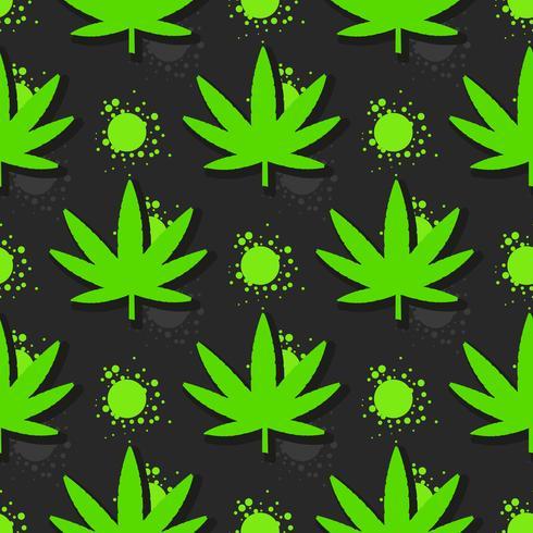 Hojas de marihuana sin patrón. Dibujado a mano ilustración