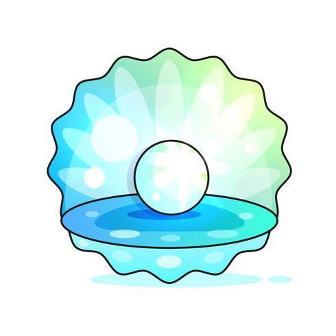 Hermosa calidad, natural, natural, abierto, concha de perla, primer plano realista, valioso, objeto, imagen vectorial vector