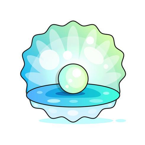 Feinste Qualitätsschöner natürlicher offener Perlen-Shell Close Up Realistic Single Valuable Object Image Vector
