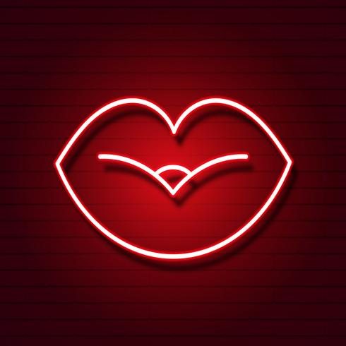 Retro neon lips sign. Design element for Happy Valentine s Day. Ready for your design, greeting card, banner. Vector