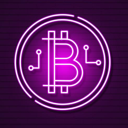 Neon Bitcoin Symbol On Black Background.light Effect. Digital Money, Mining Technology Concept. Vector Icon.