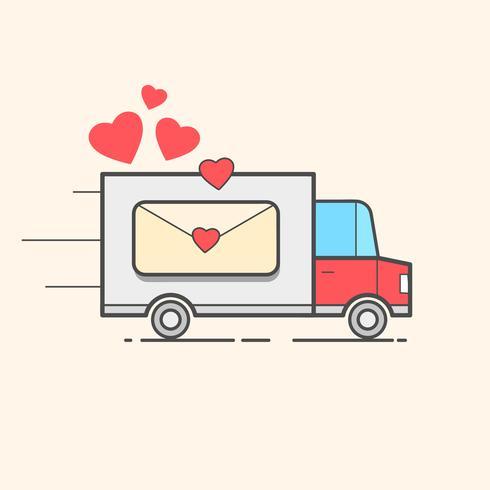Tarjeta De Un Día De San Valentín. Camión Rojo Con Corazones. Amor - Cita de letras. Cartel de humor, composición de camiseta, estampado de estilo dibujado a mano. Vector