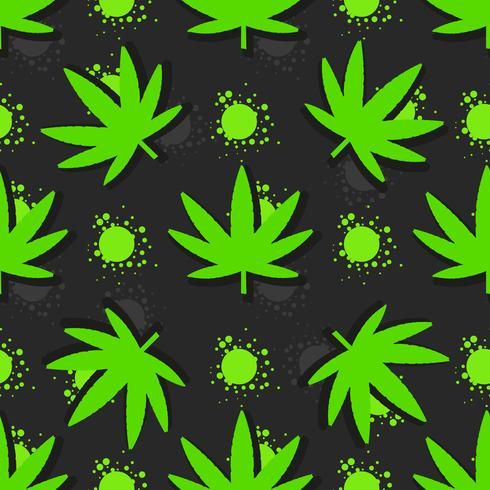Marijuana leaves seamless pattern. Hand drawn illustration. vector