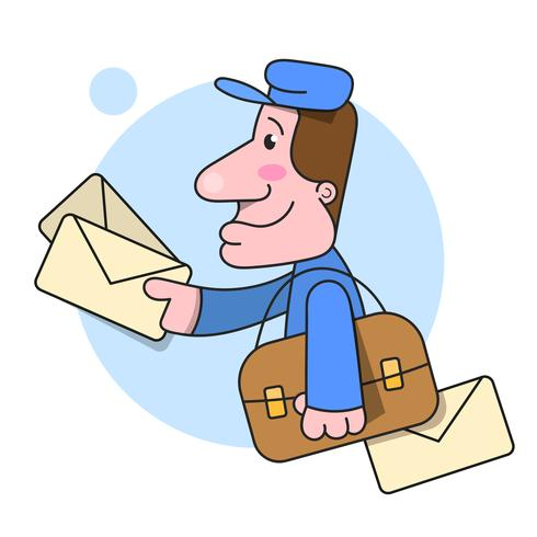Postbode stelt Leveringsbriefillustratie op Witte Achtergrond in werking vector