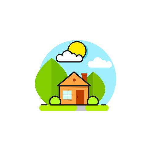 Green House Logo Emblem On White Background vector