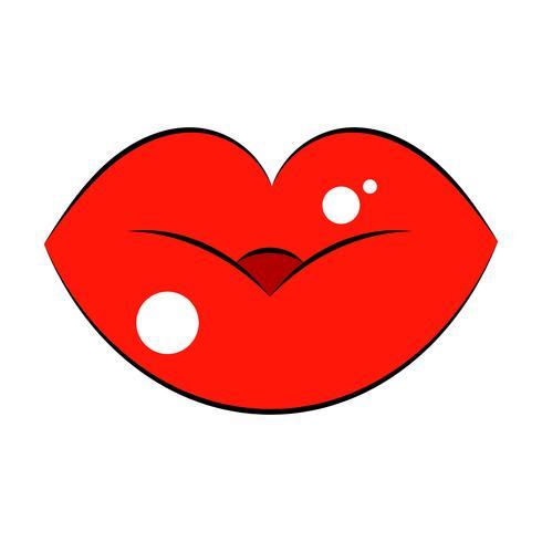 Logo delle labbra da donna per t-shirt, volantini, grafica per il web. Vettore