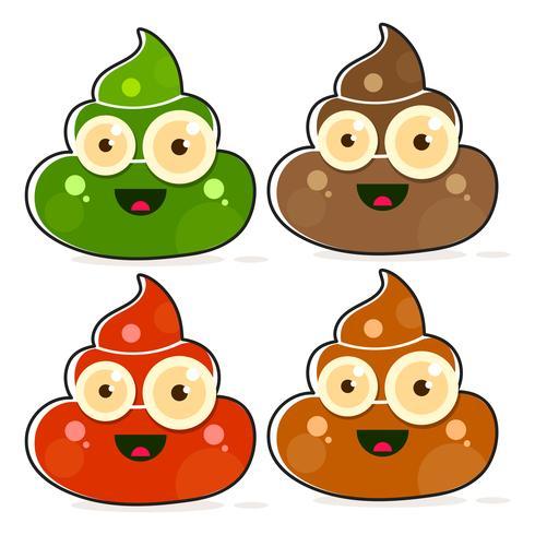Set of Cartoon Brown Poop Variations.