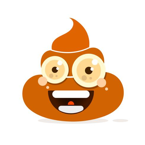 Cartoon poop vector icon on white background,