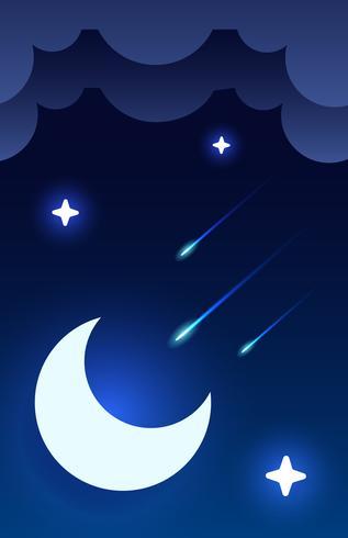 Sfondo del cielo notturno mistico con mezza luna, nuvole e stelle. Notte al chiaro di luna. Vettore