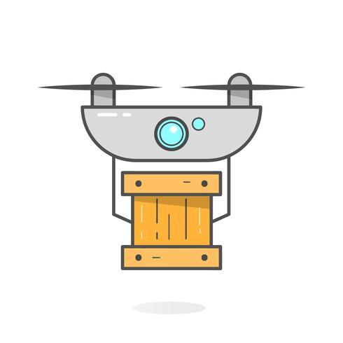 Concept de livraison de drone. Service Copter ou Quadricoptère, Commande, Expédition dans le monde entier. Vecteur de design moderne