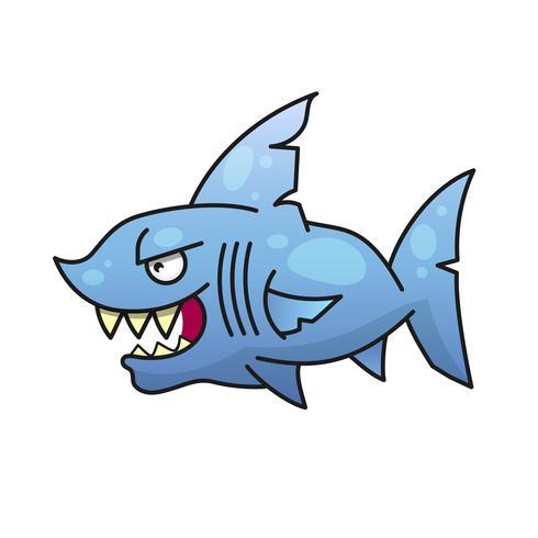 tubarão irritado com ilustração vetorial de boca enorme