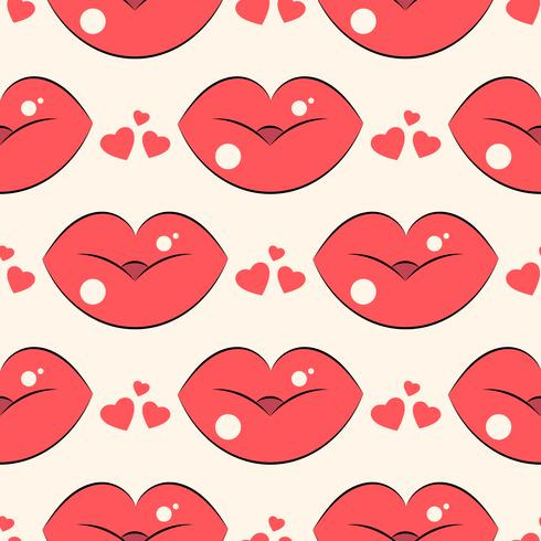 Lips pattern. Vector seamless pattern with woman s red kissing flat lips.