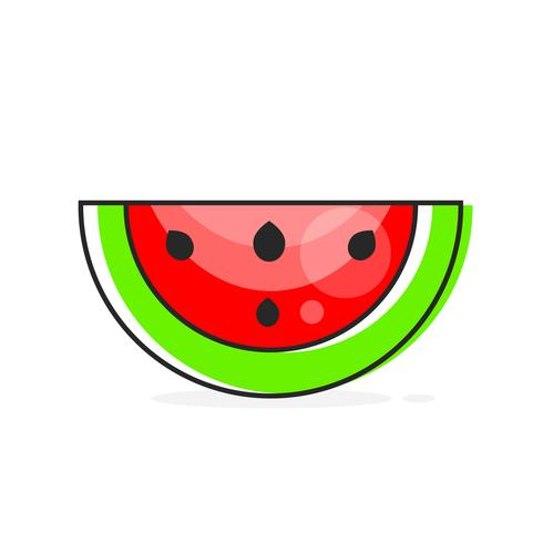 Vector Skiva Vattenmelon. Fruktillustration För Farm Market Menu. Hälsosam mat