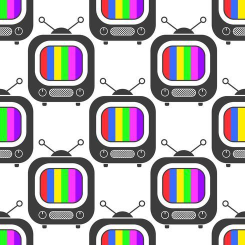 Fernsehikone in der Linie nahtloser Musterhintergrund der Art. Geschäft flache Vektor-Illustration. Fernsehzeichen vektor
