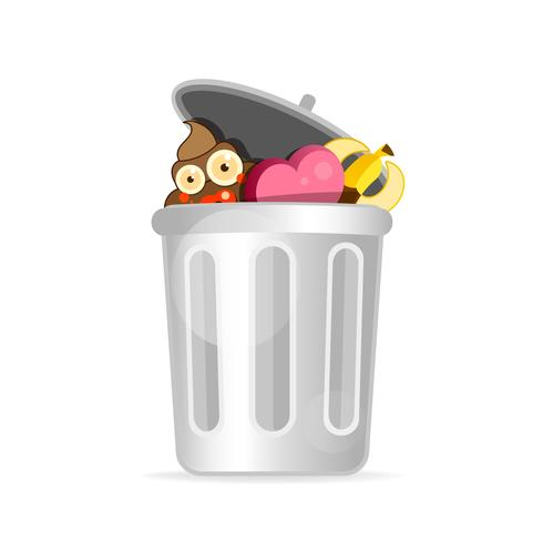 Recycle Bin Cartoon Character Modern Flat Design. Vector Illustration