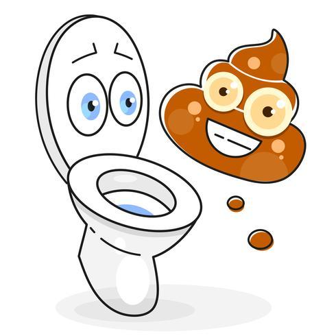Schmutzige Toiletten-Karikatur-Illustration bereit zu Ihrem Design, Gruß-Karte