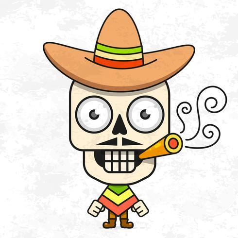 Cartoon Mexicaanse suiker schedel vectorillustratie voor Dia de Los Muertos. Leuke mannelijke schedel