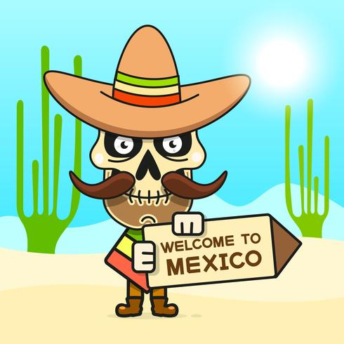 Tecknad mexikansk skalle vektor illustration för Dia De Los Muertos. Gullig manlig skalle