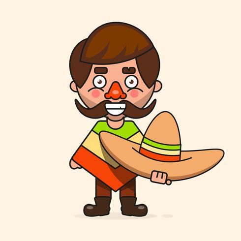 Hombre mexicano de dibujos animados, listo para su diseño, tarjeta de felicitación, bandera. Vector